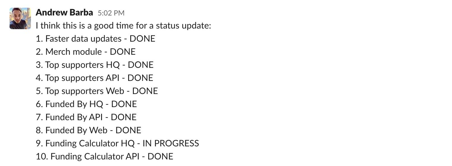 Slack status update